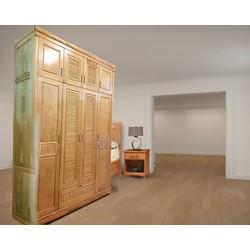 Tủ quần áo gỗ sồi 4 cánh 2 tầng