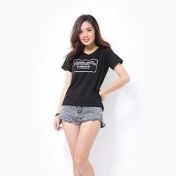 Áo thun nữ tay ngắn màu đen in chữ Fashion Desich Style MS153