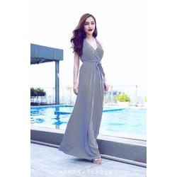 Đầm maxi sọc trắng đen cao cấp