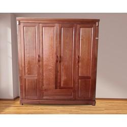 Tủ quần áo gỗ Xoan đào 4 cánh  mặt cửa liền