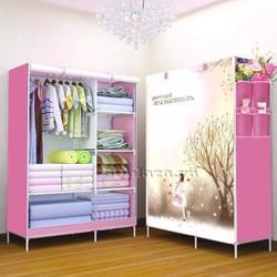 Tủ vải quần áo Hàn Quốc họa tiết 3D  BQ147 Hồng