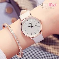 Đồng hồ nữ kezzi dây dây mềm dẻo mặt tròn không số thời trang WH-K738