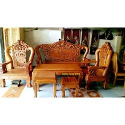 bàn ghế phòng khách salon gỗ gõ đỏ trạm rồng bát tiên tay 12