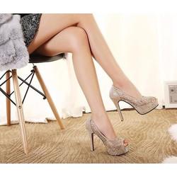 Giày cao gót hở mũi 12p hàng xuất khẩu