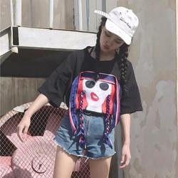 áo thun nữ hình cô gái Mã: AX3249 - ĐEN