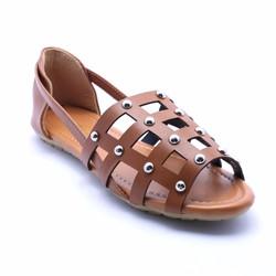 Giày búp bê đế bệt lưới vuông - Nâu