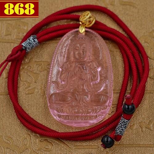 Vòng cổ dây dù Phật Đại Nhật Như Lai - pha lê hồng 5cm - Phật bản mệnh tuổi Mùi, Thân