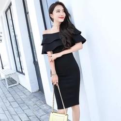 ĐẦM ÔM BẸT VAI HAI TẦNG CAO CẤP-shop HOA TRANH-mã HTD677