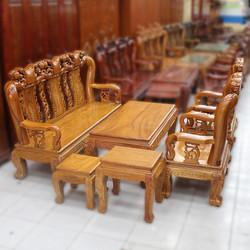 bộ bàn ghế salon gỗ gõ đỏ chạm đào tay 10