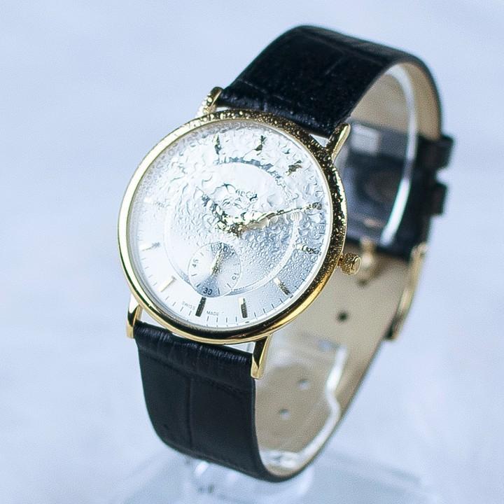 Đồng hồ dây da siêu mỏng chạy full kim OMEG 01 7