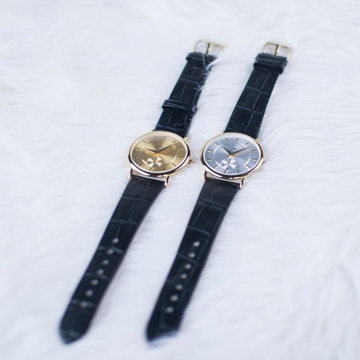 Đồng hồ dây da siêu mỏng chạy full kim OMEG 01 21