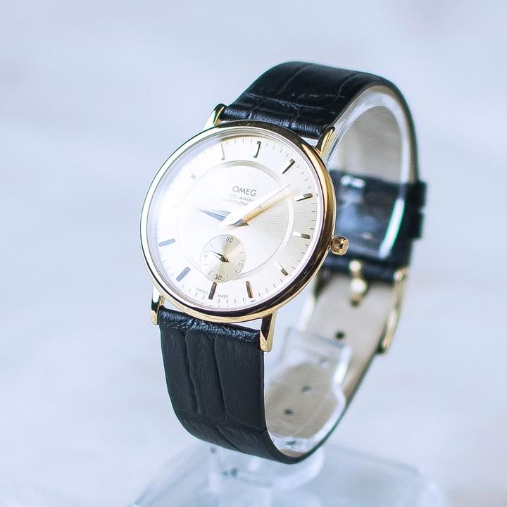 Đồng hồ dây da siêu mỏng chạy full kim OMEG 01 9