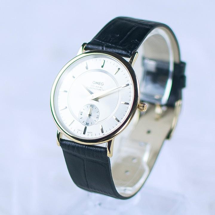 Đồng hồ dây da siêu mỏng chạy full kim OMEG 01 3
