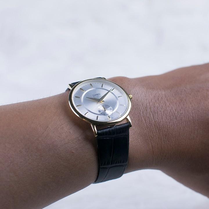 Đồng hồ dây da siêu mỏng chạy full kim OMEG 01 17