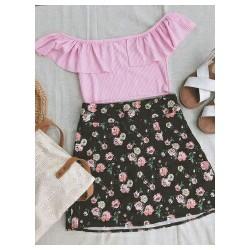Set áo bẹt vai và chân váy hoa