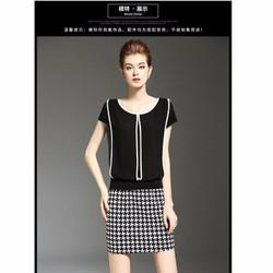 set váy móc câu và áo voan đen viền trắng mới lạ
