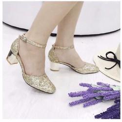 giày cao gót bít mũi kim tuyến