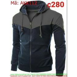 Áo khoác nam nỉ có nón phối màu cá tính và thời trang AKK112