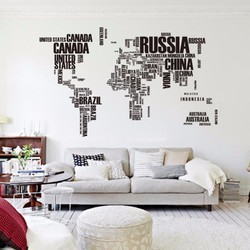 Decal dán tường Bản đồ thế giới bằng chữ tiếng anh Zooyoo