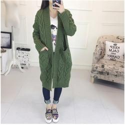 Áo khoác len cadigan form dài đan cuốn chéo pha túi -Hàng Quảng Châu