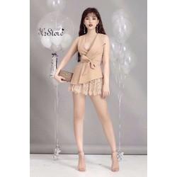 Set áo cột eo + váy ren
