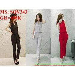 Sét áo sát nách kiểu phối quần ôm sành điệu thời trang SQV343