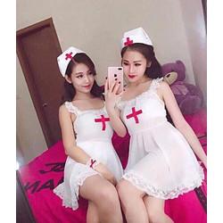 bộ ngủ y tá trắng hai dây