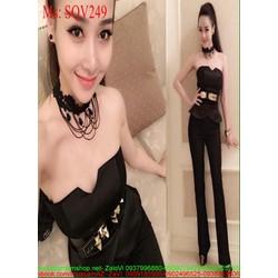 Sét áo cúp ngực vạt bầu và quần dài ống ôm sành điệu SQV249