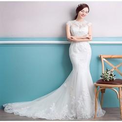 Áo cưới đuôi cá giá rẻ, cổ ren tôn dáng - Cati623