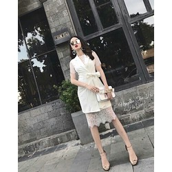 Set đầm vest  kèm đầm ren rời màu trắng SET068