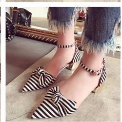 giày cao gót mũi nhọn thắt nơ