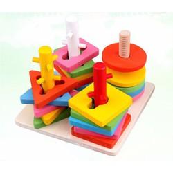 Bộ đồ chơi cột gỗ hình học xoay 3D cho trẻ - đồ chơi giáo dục