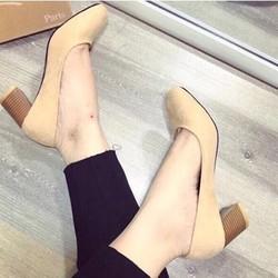 giày gót vuông mụi tròn