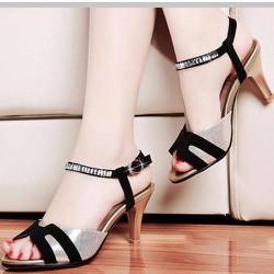 Giày cao gót nữ chữ H quai đính đá - LN1366