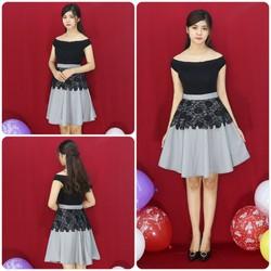 Đầm thiết kế ren đen bẹt vai caro giống bella
