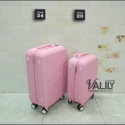 Vali kéo nhựa dẻo Hello Kitty - hồng phấn -size 20