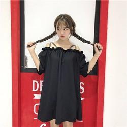 Đầm trể vai Hàn Quốc dây chéo
