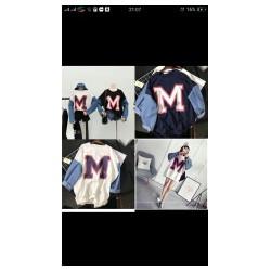 áo chữ M phối tay jean