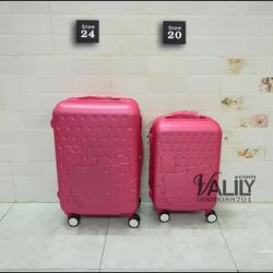Vali kéo nhựa dẻo Hello Kitty - hồng sen - size 24