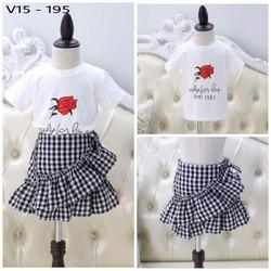 Set áo và chân váy xòe cho bé hàng cao cấp giá rẻ