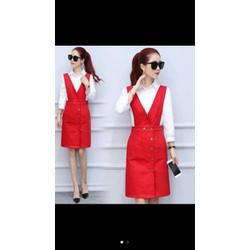 váy yếm quảng châu đỏ