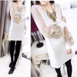 Đầm nữ dài tay tôn dáng, cánh tay áo rộng, phối ren độc đáo-D2832