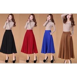 Chân váy xòe dài vintage -Hàng có túi nhiều size nhiều màu