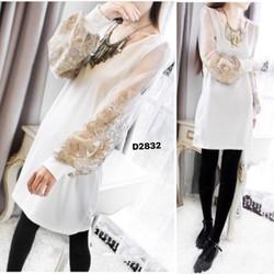 Đầm nữ dài tay thiết kế,cánh tay áo rộng, phối ren độc đáo-D2832