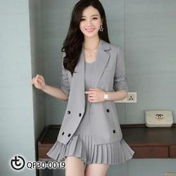 Set váy dây xếp li và áo khoác - Hàng cao cấp Quảng Châu