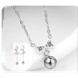 Bộ trang sức inox nơ gồm dây chuyền và bông tai giá rẻ đẹp