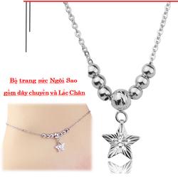 Bộ Dây chuyền và lắc châninox nữ giá rẻkiểu bi kết hợp ngôi sao