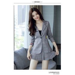 Set áo vest sọc chân váy xếp ly SA2616 - Hàng nhập loại 1