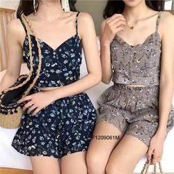 Set áo 2 dây voan hoa quần short hàng thiết kế - MS: S120915 GS: 160K