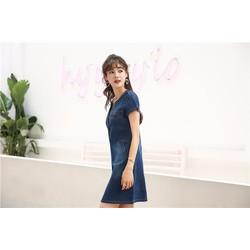 Đầm Jean Phối Túi Ngực Thời Trang D740